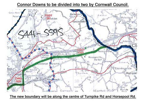 This map is one to be considered by Cornwall Council Boundary Review Panel, it recommends that Connor Downs on the north side of Turnpike Rd and Horsepool Rd be included in a division that would be in reality Hayle North and residents living on the south